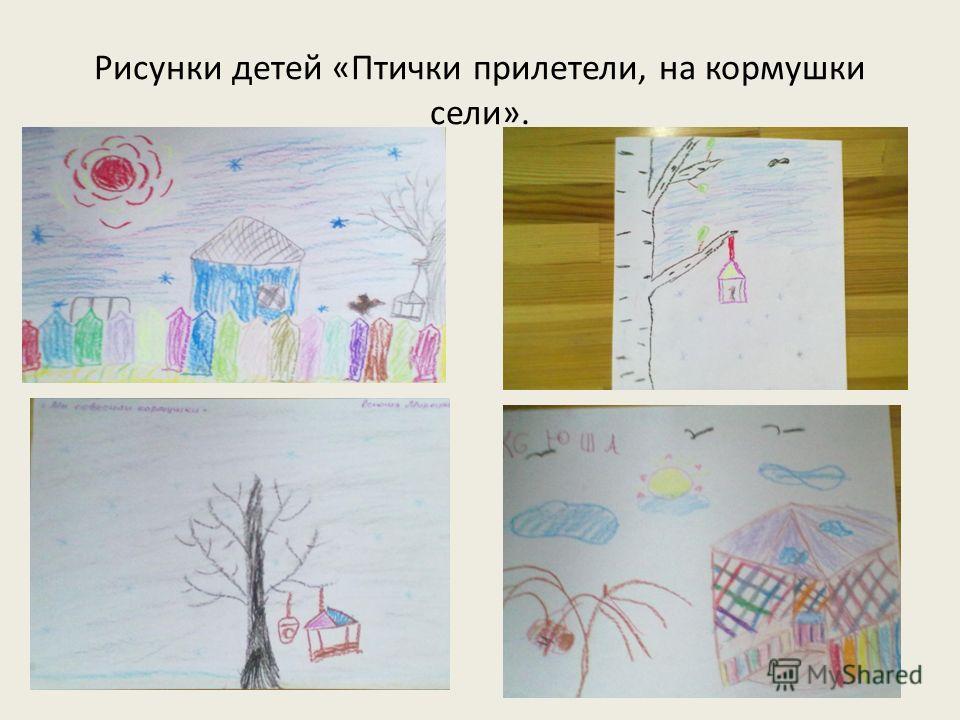 Рисунки детей «Птички прилетели, на кормушки сели».