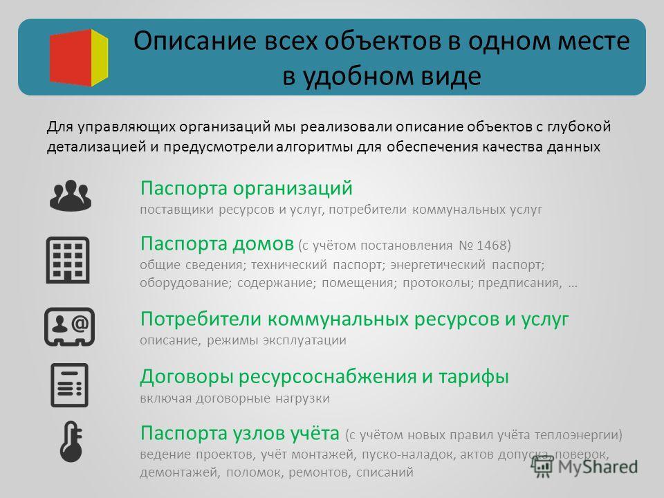 Описание всех объектов в одном месте в удобном виде Паспорта домов (с учётом постановления 1468) общие сведения; технический паспорт; энергетический паспорт; оборудование; содержание; помещения; протоколы; предписания, … Паспорта организаций поставщи