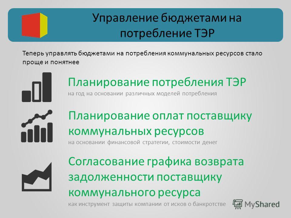 Управление бюджетами на потребление ТЭР Планирование потребления ТЭР на год на основании различных моделей потребления Согласование графика возврата задолженности поставщику коммунального ресурса как инструмент защиты компании от исков о банкротстве