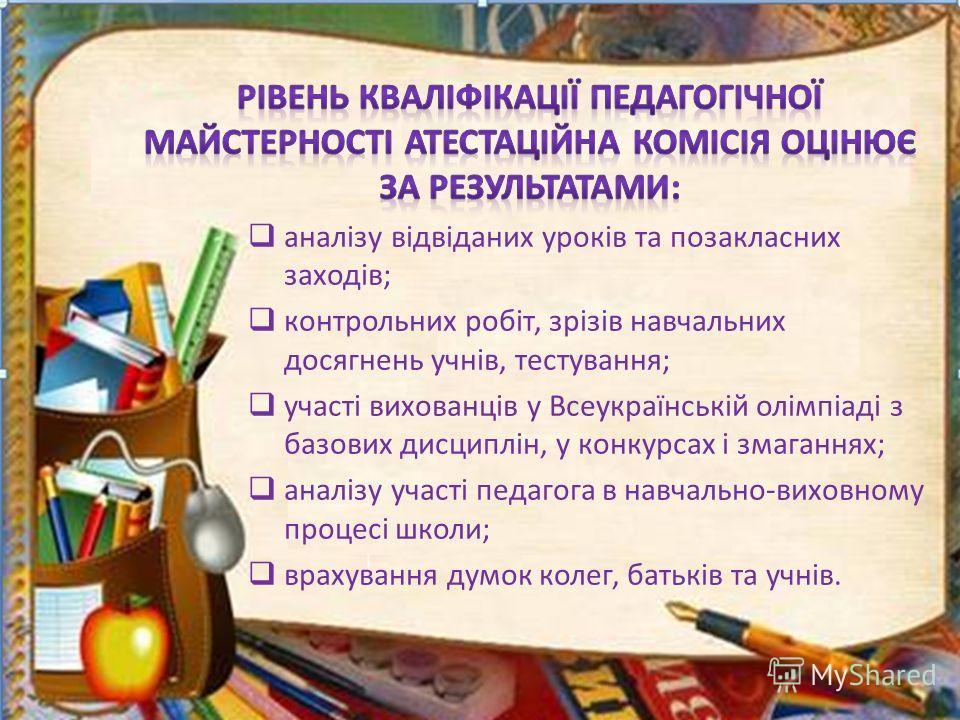 аналізу відвіданих уроків та позакласних заходів; контрольних робіт, зрізів навчальних досягнень учнів, тестування; участі вихованців у Всеукраїнській олімпіаді з базових дисциплін, у конкурсах і змаганнях; аналізу участі педагога в навчально-виховно