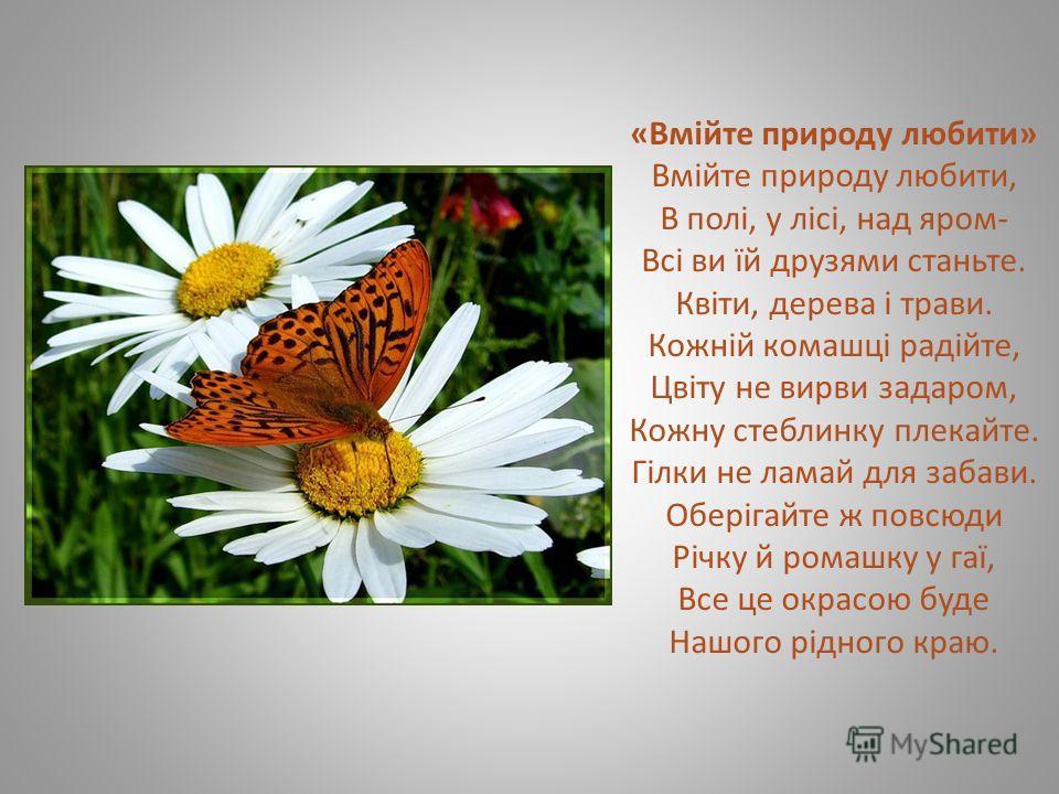 «Вмійте природу любити» Вмійте природу любити, В полі, у лісі, над яром- Всі ви їй друзями станьте. Квіти, дерева і трави. Кожній комашці радійте, Цвіту не вирви задаром, Кожну стеблинку плекайте. Гілки не ламай для забави. Оберігайте ж повсюди Річку