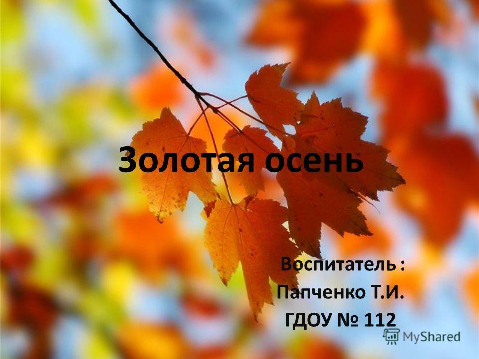 Золотая осень Воспитатель : Папченко Т.И. ГДОУ 112