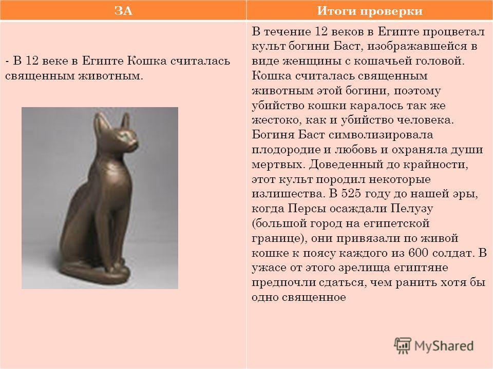 ЗАИтоги проверки - В 12 веке в Египте Кошка считалась священным животным. В течение 12 веков в Египте процветал культ богини Баст, изображавшейся в виде женщины с кошачьей головой. Кошка считалась священным животным этой богини, поэтому убийство кошк