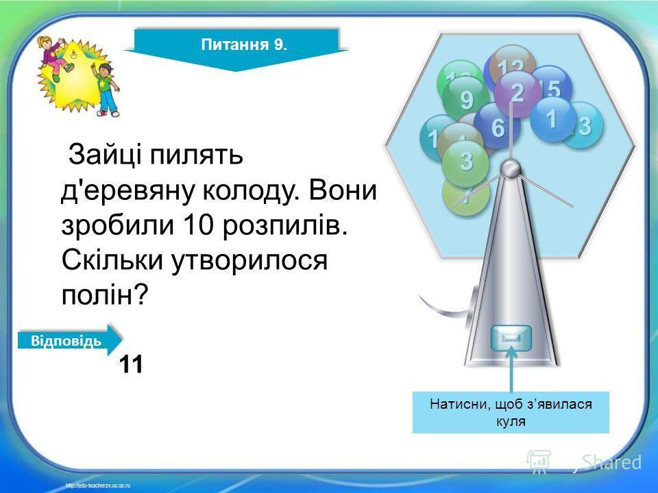 10 9 11 12 13 14 15 9 8 7 6 4 3 2 1 Питання 9. http://edu-teacherzv.ucoz.ru Зайці пилять д'еревяну колоду. Вони зробили 10 розпилів. Скільки утворилося полін? 11 Відповідь Натисни, щоб зявилася куля