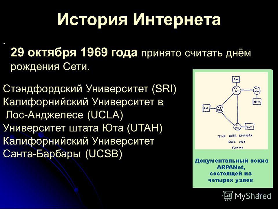 10 История Интернета. Стэндфордский Университет (SRI) Калифорнийский Университет в Лос-Анджелесе (UCLA) Университет штата Юта (UTAH) Калифорнийский Университет Санта-Барбары (UCSB) 29 октября 1969 года принято считать днём рождения Сети.