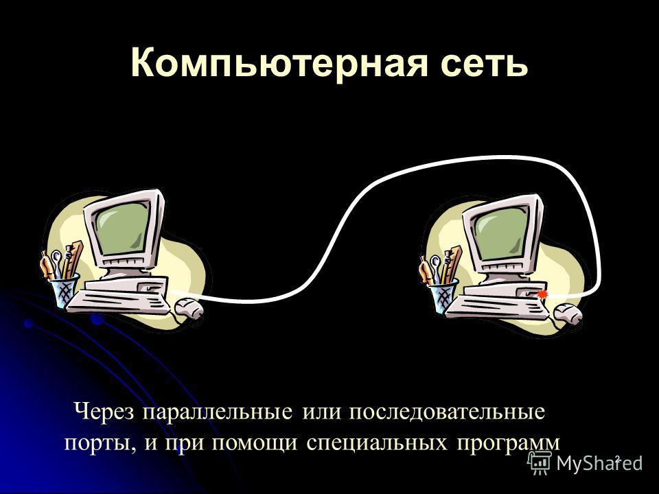 2 Компьютерная сеть Через параллельные или последовательные порты, и при помощи специальных программ