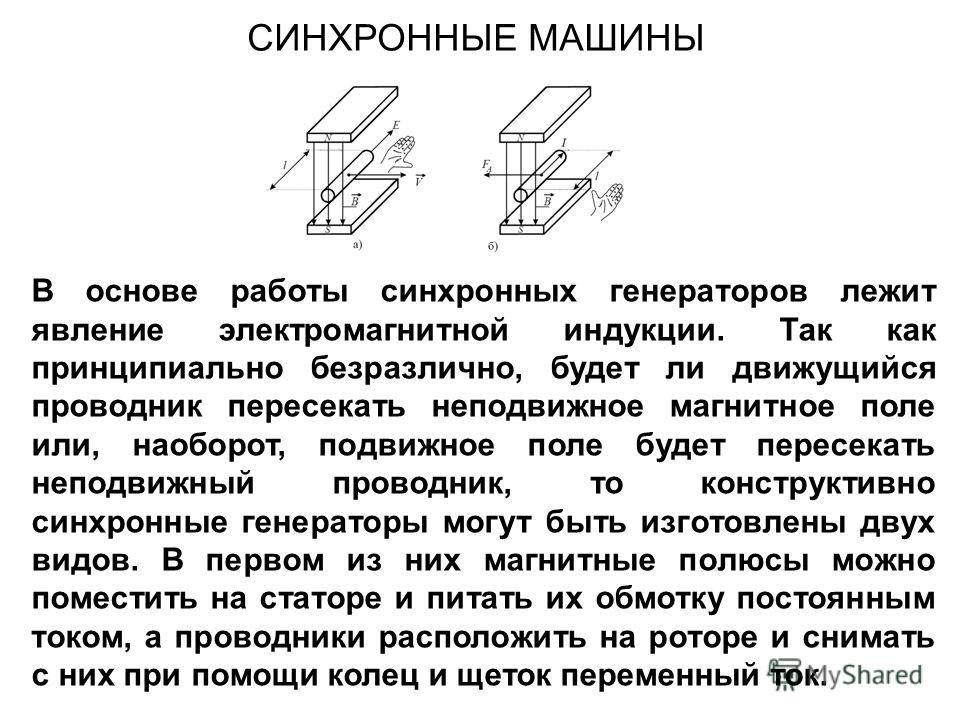 В основе работы синхронных генераторов лежит явление электромагнитной индукции. Так как принципиально безразлично, будет ли движущийся проводник пересекать неподвижное магнитное поле или, наоборот, подвижное поле будет пересекать неподвижный проводни
