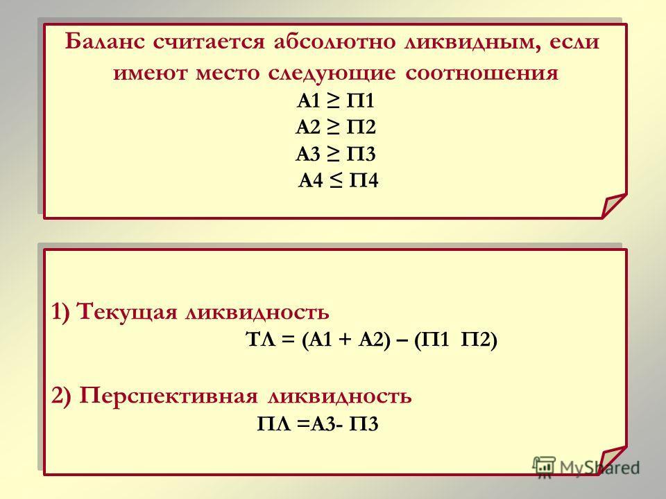 1)Текущая ликвидность ТЛ = (А1 + А2) – (П1 П2) 2) Перспективная ликвидность ПЛ =А3- П3 1)Текущая ликвидность ТЛ = (А1 + А2) – (П1 П2) 2) Перспективная ликвидность ПЛ =А3- П3 Баланс считается абсолютно ликвидным, если имеют место следующие соотношения