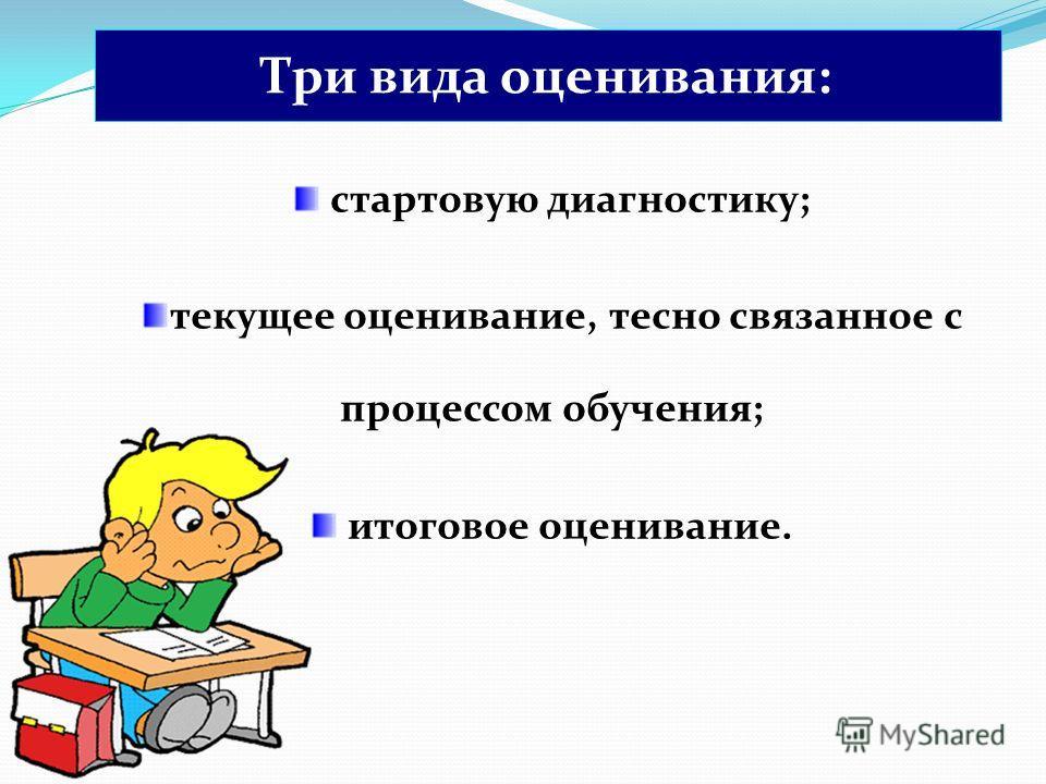 стартовую диагностику; текущее оценивание, тесно связанное с процессом обучения; итоговое оценивание. Три вида оценивания: