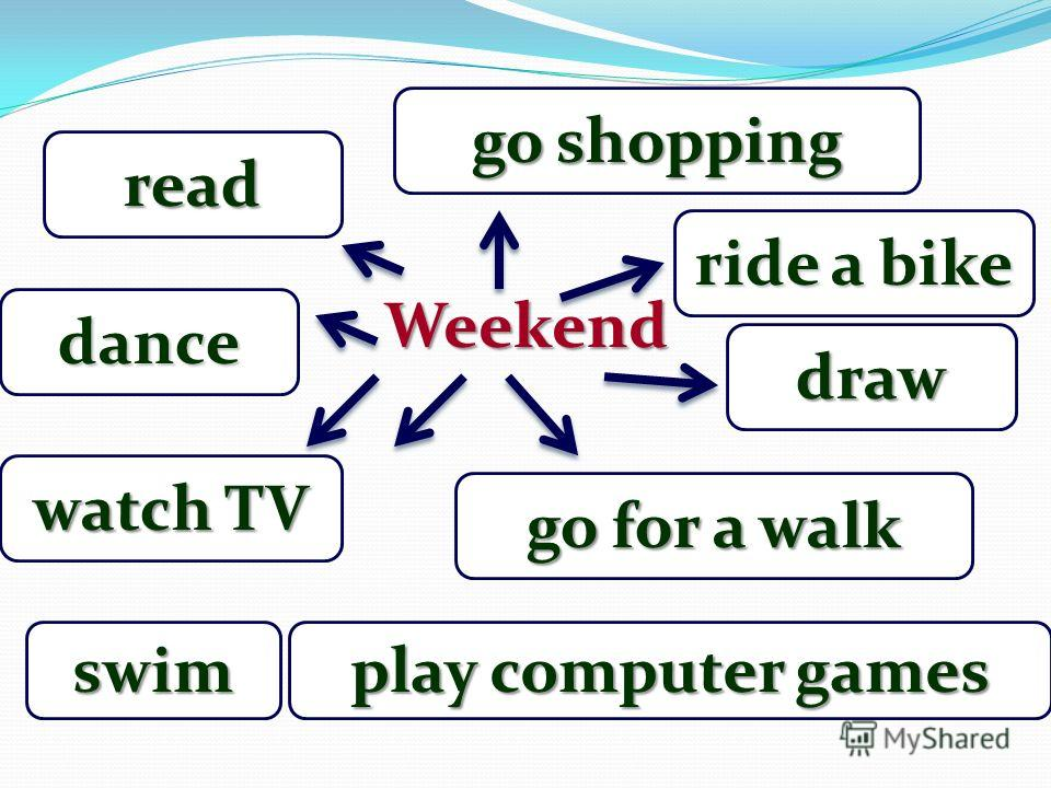 Weekend watch TV dance play computer games go for a walk read draw go shopping ride a bike swim