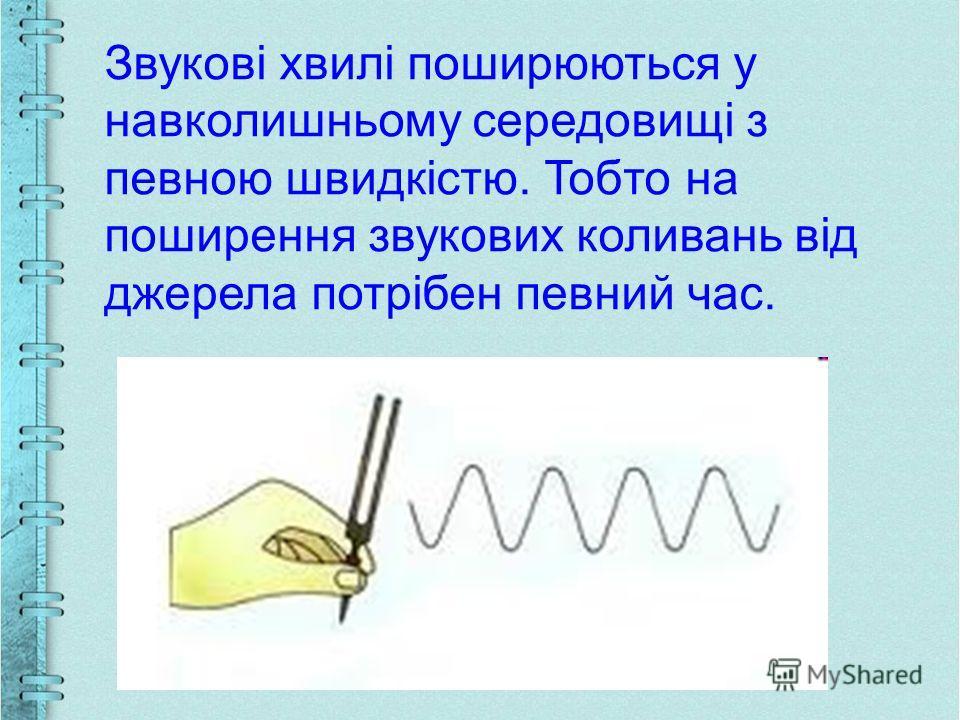 Звукові хвилі поширюються у навколишньому середовищі з певною швидкістю. Тобто на поширення звукових коливань від джерела потрібен певний час.