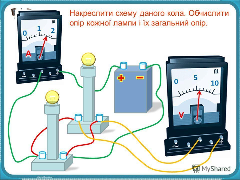 0 1 2 A A 0 5 10 V V Накреслити схему даного кола. Обчислити опір кожної лампи і їх загальний опір.