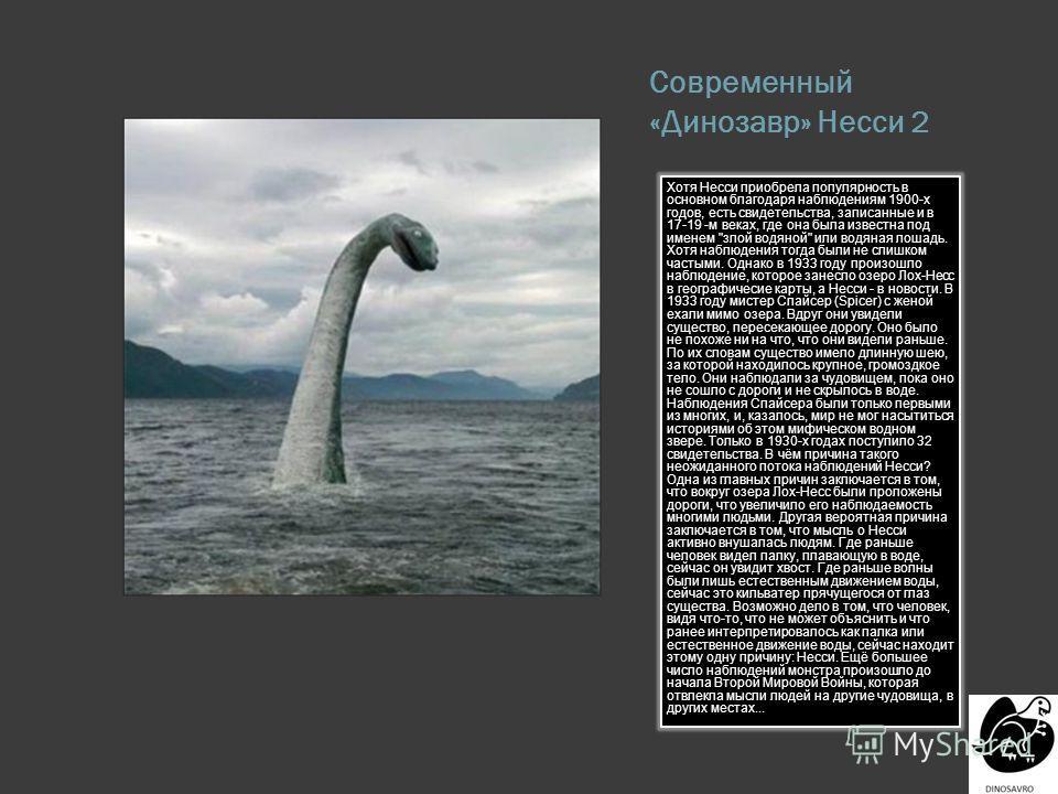 Современный «Динозавр» Несси 2 Хотя Несси приобрела популярность в основном благодаря наблюдениям 1900-х годов, есть свидетельства, записанные и в 17-19 -м веках, где она была известна под именем