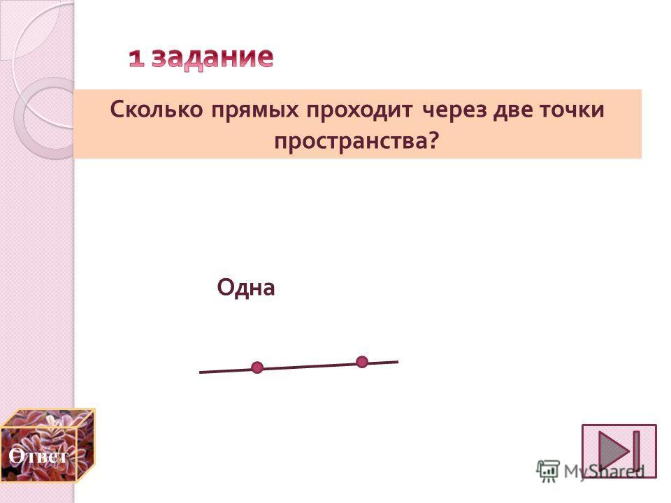 Сколько прямых проходит через две точки пространства ? Одна Ответ