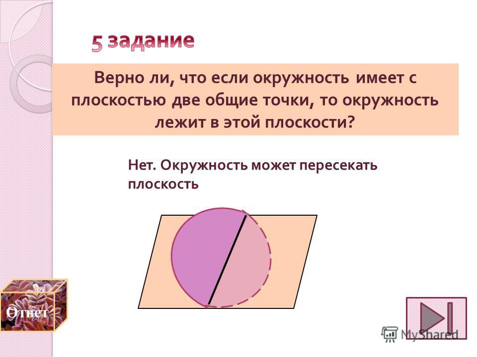 Верно ли, что если окружность имеет с плоскостью две общие точки, то окружность лежит в этой плоскости ? Нет. Окружность может пересекать плоскость Ответ