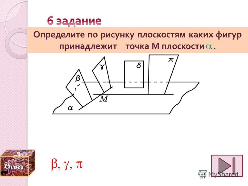 Определите по рисунку плоскостям каких фигур принадлежит точка M плоскости.