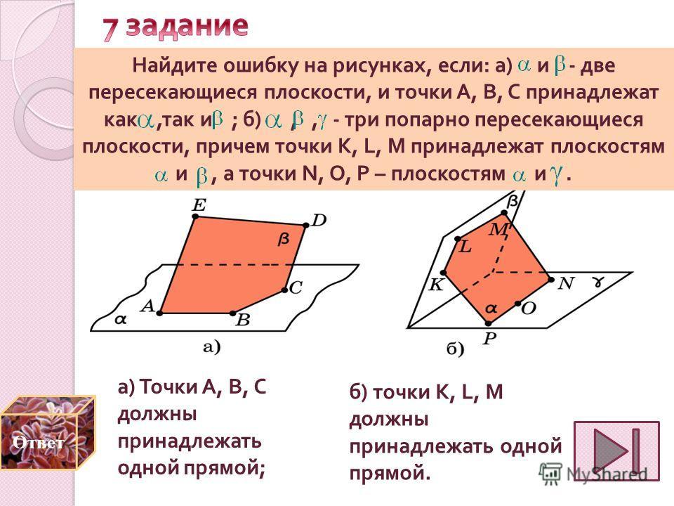 а ) Точки A, B, C должны принадлежать одной прямой ; Найдите ошибку на рисунках, если : а ) и - две пересекающиеся плоскости, и точки A, B, C принадлежат как, так и ; б ),, - три попарно пересекающиеся плоскости, причем точки K, L, M принадлежат плос