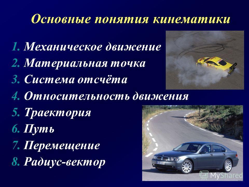 Основные понятия кинематики 1. Механическое движение 2. Материальная точка 3. Система отсчёта 4. Относительность движения 5. Траектория 6. Путь 7. Перемещение 8. Радиус-вектор