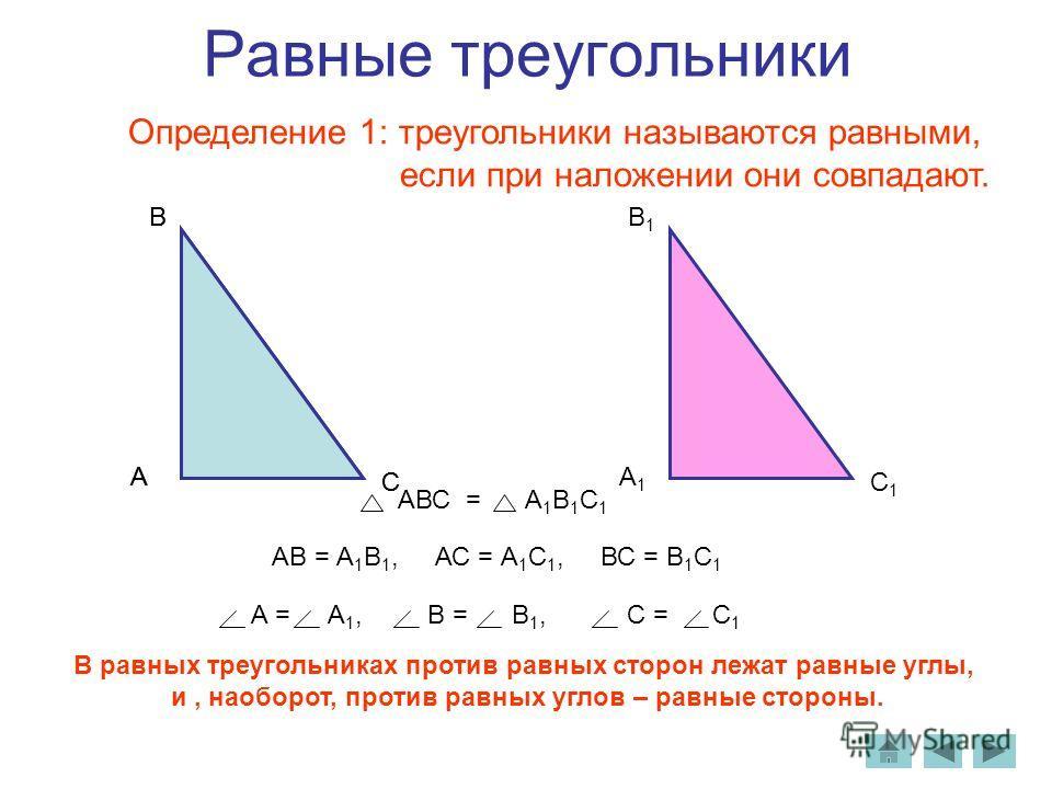 Равные треугольники Определение 1: треугольники называются равными, если при наложении они совпадают. А В С А1А1 В1В1 С1С1 АВ = А 1 В 1, АС = А 1 С 1, ВС = В 1 С 1 В равных треугольниках против равных сторон лежат равные углы, и, наоборот, против рав