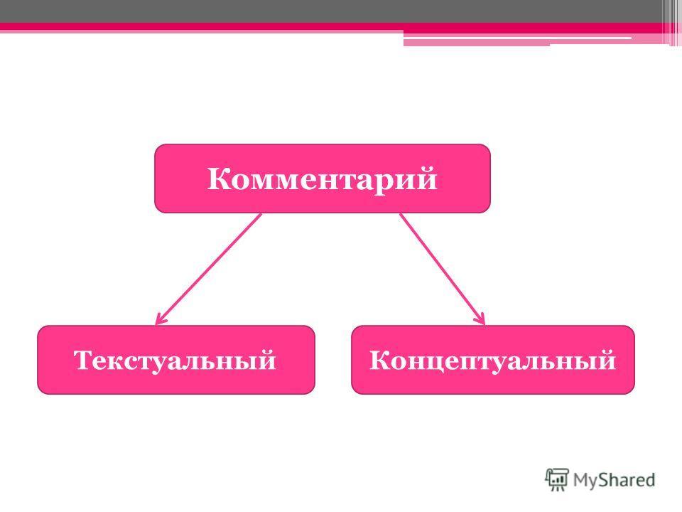 Комментарий ТекстуальныйКонцептуальный