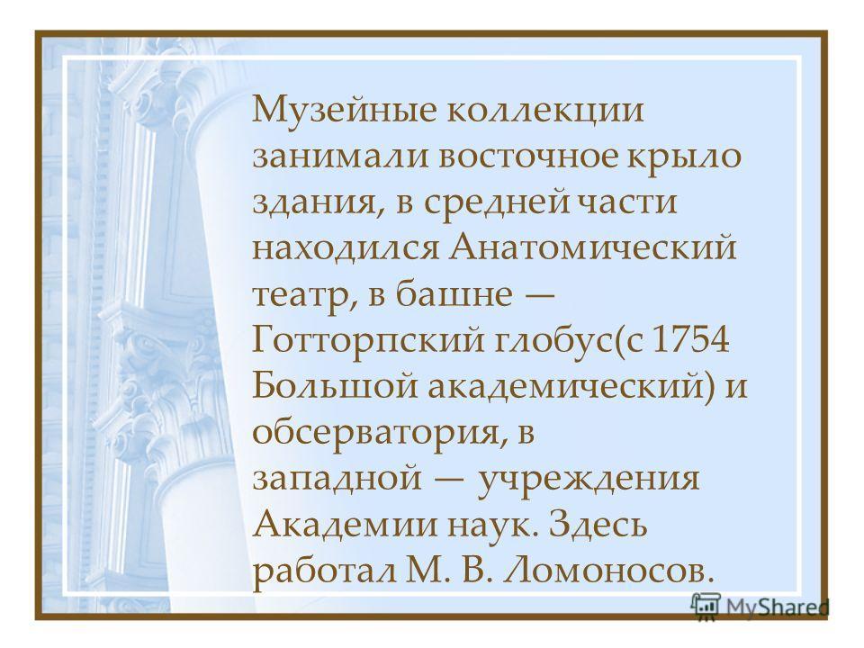 Музейные коллекции занимали восточное крыло здания, в средней части находился Анатомический театр, в башне Готторпский глобус(с 1754 Большой академический) и обсерватория, в западной учреждения Академии наук. Здесь работал М. В. Ломоносов.