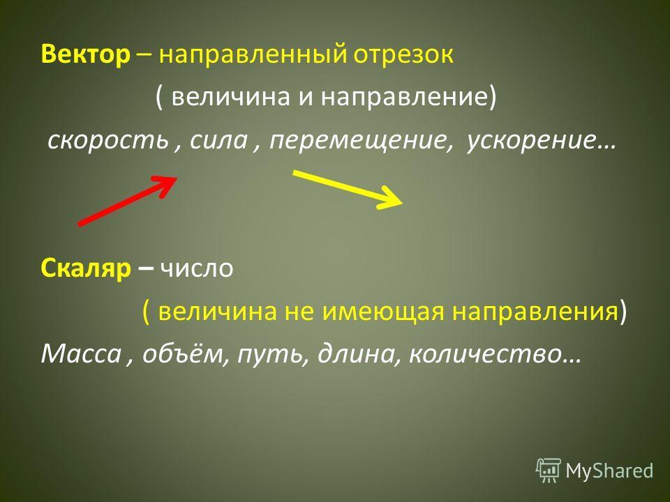 Вектор – направленный отрезок ( величина и направление) скорость, сила, перемещение, ускорение… Скаляр – число ( величина не имеющая направления) Масса, объём, путь, длина, количество…