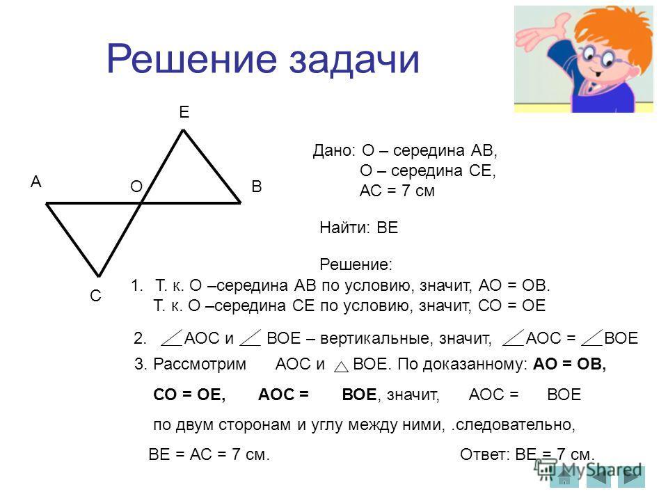 Решение задачи А ВО С Е Дано: О – середина АВ, О – середина СЕ, АС = 7 см Найти: ВЕ Решение: 1.Т. к. О –середина АВ по условию, значит, АО = ОВ. Т. к. О –середина СЕ по условию, значит, СО = ОЕ 2. АОС и ВОЕ – вертикальные, значит, АОС = ВОЕ 3. Рассмо
