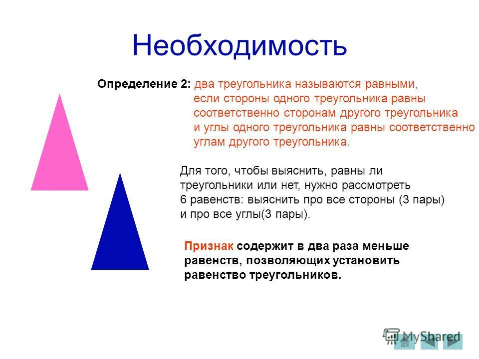 Необходимость Для того, чтобы выяснить, равны ли треугольники или нет, нужно рассмотреть 6 равенств: выяснить про все стороны (3 пары) и про все углы(3 пары). Признак содержит в два раза меньше равенств, позволяющих установить равенство треугольников