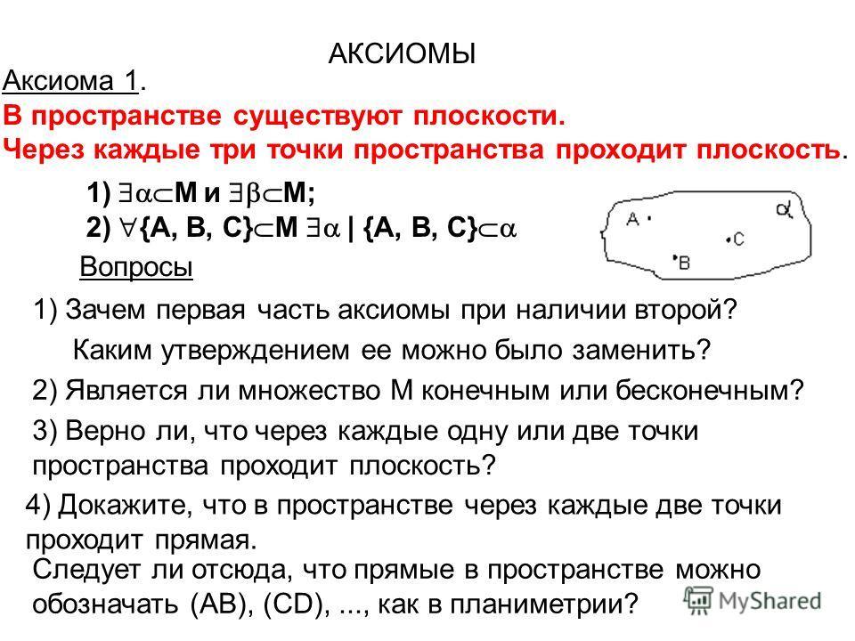 Аксиома 1. В пространстве существуют плоскости. Через каждые три точки пространства проходит плоскость. АКСИОМЫ 1) М и М; 2) {А, В, С} M | {А, В, С} Рис. 2 Вопросы 1) Зачем первая часть аксиомы при наличии второй? Каким утверждением ее можно было зам