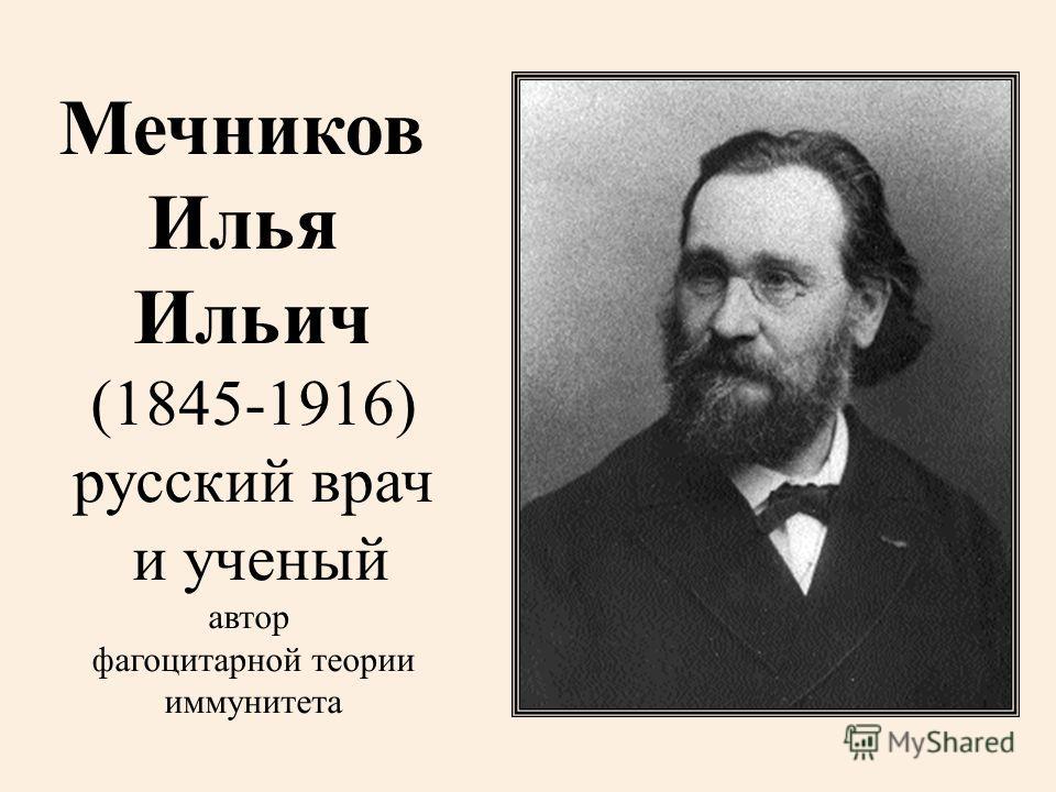 Мечников Илья Ильич (1845-1916) русский врач и ученый автор фагоцитарной теории иммунитета