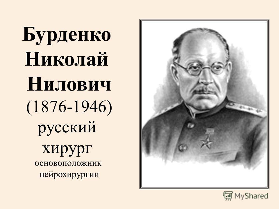 Бурденко Николай Нилович (1876-1946) русский хирург основоположник нейрохирургии