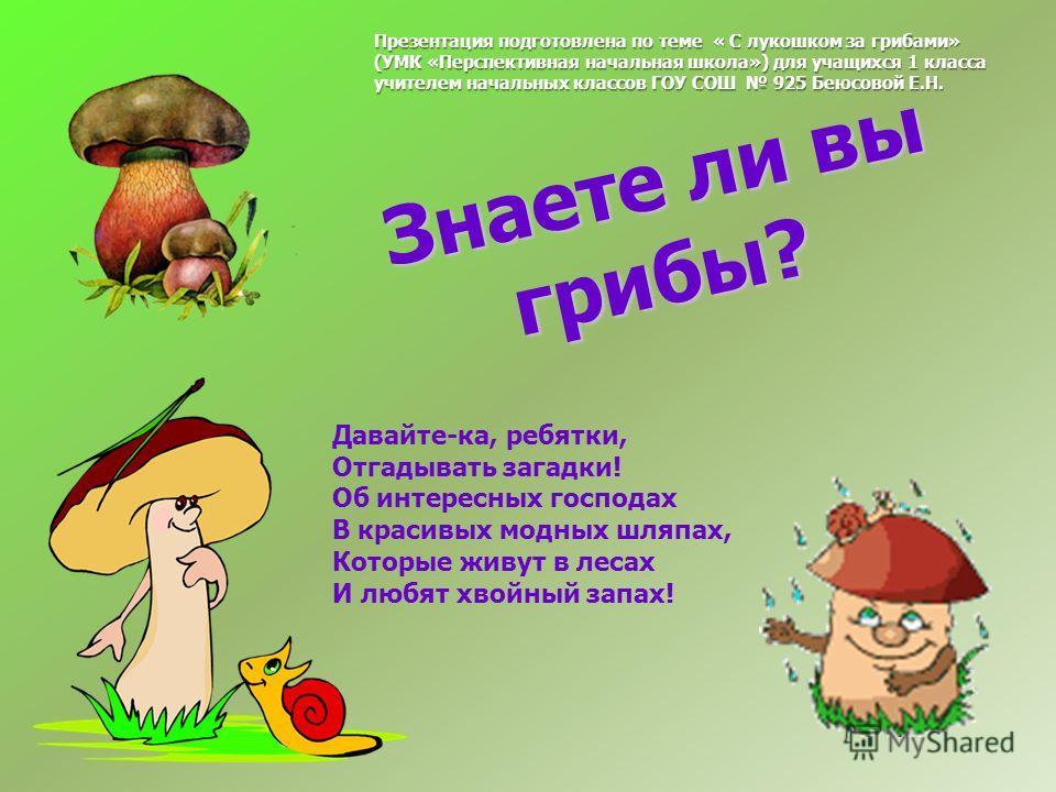 Знаете ли вы грибы? Знаете ли вы грибы? Давайте-ка, ребятки, Отгадывать загадки! Об интересных господах В красивых модных шляпах, Которые живут в лесах И любят хвойный запах! Презентация подготовлена по теме « С лукошком за грибами» (УМК «Перспективн