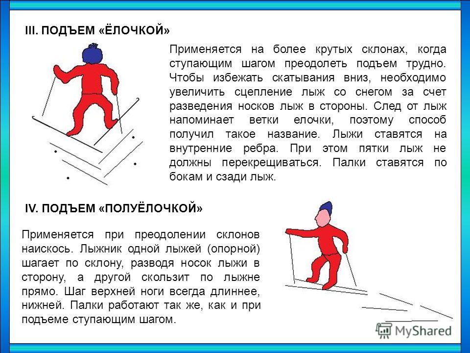 III. ПОДЪЕМ «ЁЛОЧКОЙ» Применяется на более крутых склонах, когда ступающим шагом преодолеть подъем трудно. Чтобы избежать скатывания вниз, необходимо увеличить сцепление лыж со снегом за счет разведения носков лыж в стороны. След от лыж напоминает ве