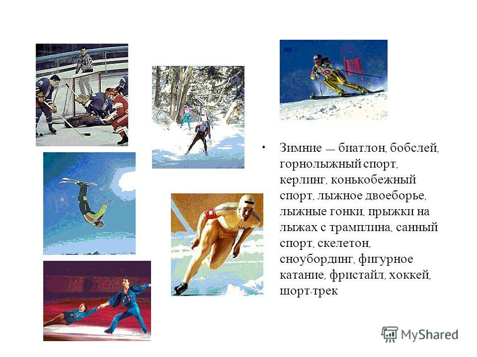 Зимние биатлон, бобслей, горнолыжный спорт, керлинг, конькобежный спорт, лыжное двоеборье, лыжные гонки, прыжки на лыжах с трамплина, санный спорт, скелетон, сноубординг, фигурное катание, фристайл, хоккей, шорт - трек