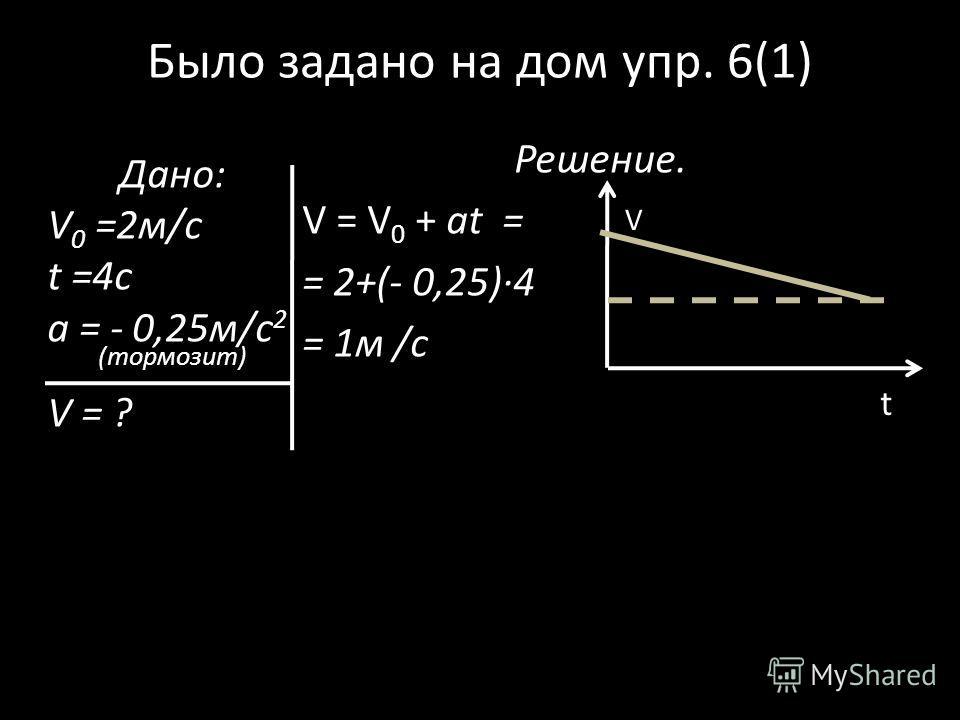 Было задано на дом упр. 6(1) Решение. V = V 0 + at = = 2+(- 0,25)4 = 1м /с Дано: V 0 =2м/с t =4c a = - 0,25м/с 2 (тормозит) V = ? V t