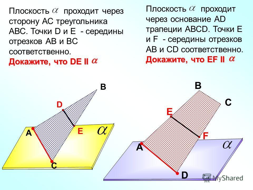 A В С D E Плоскость проходит через сторону АС треугольника АВС. Точки D и E - середины отрезков АВ и BC соответственно. Докажите, что DE II A В С D Е F Докажите, что EF II Плоскость проходит через основание АD трапеции АВСD. Точки Е и F - середины от