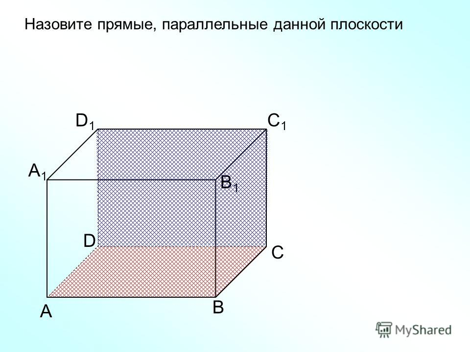 А В С D D1D1 С1С1 В1В1 А1А1 Назовите прямые, параллельные данной плоскости