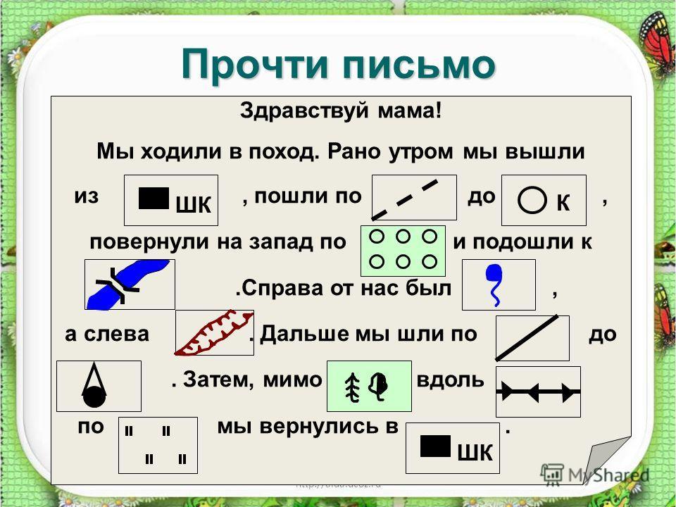 http://aida.ucoz.ru Прочти письмо Здравствуй мама! Мы ходили в поход. Рано утром мы вышли из, пошли по до, повернули на запад по и подошли к.Справа от нас был, а слева. Дальше мы шли по до. Затем, мимо вдоль по мы вернулись в. ШК К