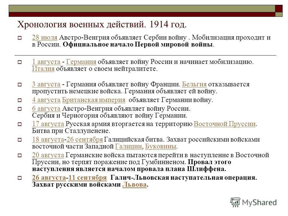 Хронология военных действий. 1914 год. 28 июля Австро-Венгрия объявляет Сербии войну. Мобилизация проходит и в России. Официальное начало Первой мировой войны. 28 июля 1 августа - Германия объявляет войну России и начинает мобилизацию. Италия объявля