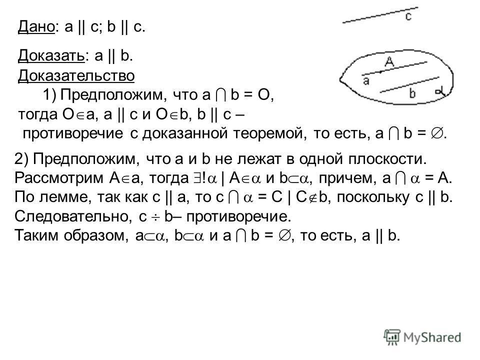 Рис. 6б Дано: а || c; b || c. Доказать: a || b. Доказательство 1)Предположим, что а b = O, тогда О а, а || c и О b, b || c – противоречие с доказанной теоремой, то есть, а b =. 2) Предположим, что а и b не лежат в одной плоскости. Рассмотрим А а, тог