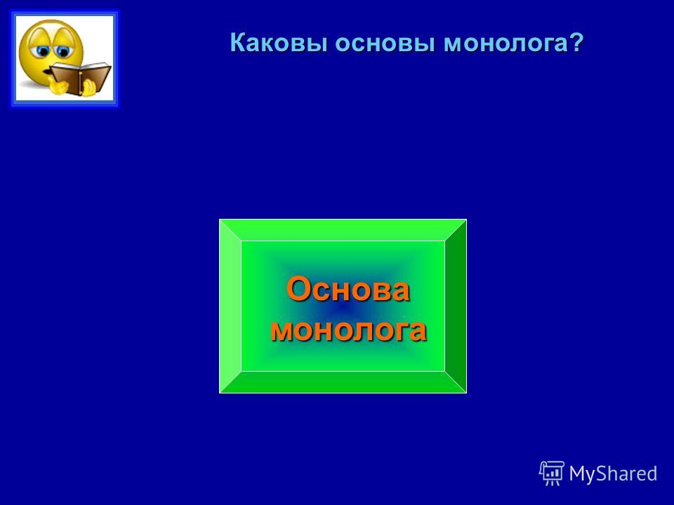 Каковы основы монолога? Сформированный грамматический строй речи Достаточный объем словаря Умение устанавливать логические связи Умение придерживаться плана Основа монолога