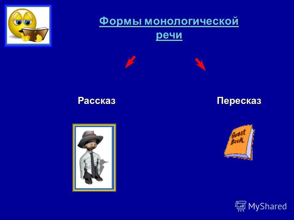 Формы монологической речи РассказПересказ