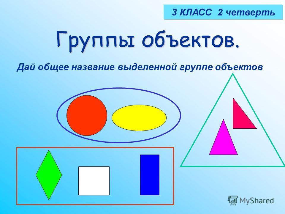 Группы объектов. 3 КЛАСС 2 четверть Дай общее название выделенной группе объектов