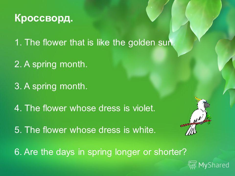 Кроссворд. 1. The flower that is like the golden sun. 2. A spring month. 3. A spring month. 4. The flower whose dress is violet. 5. The flower whose dress is white. 6. Are the days in spring longer or shorter?