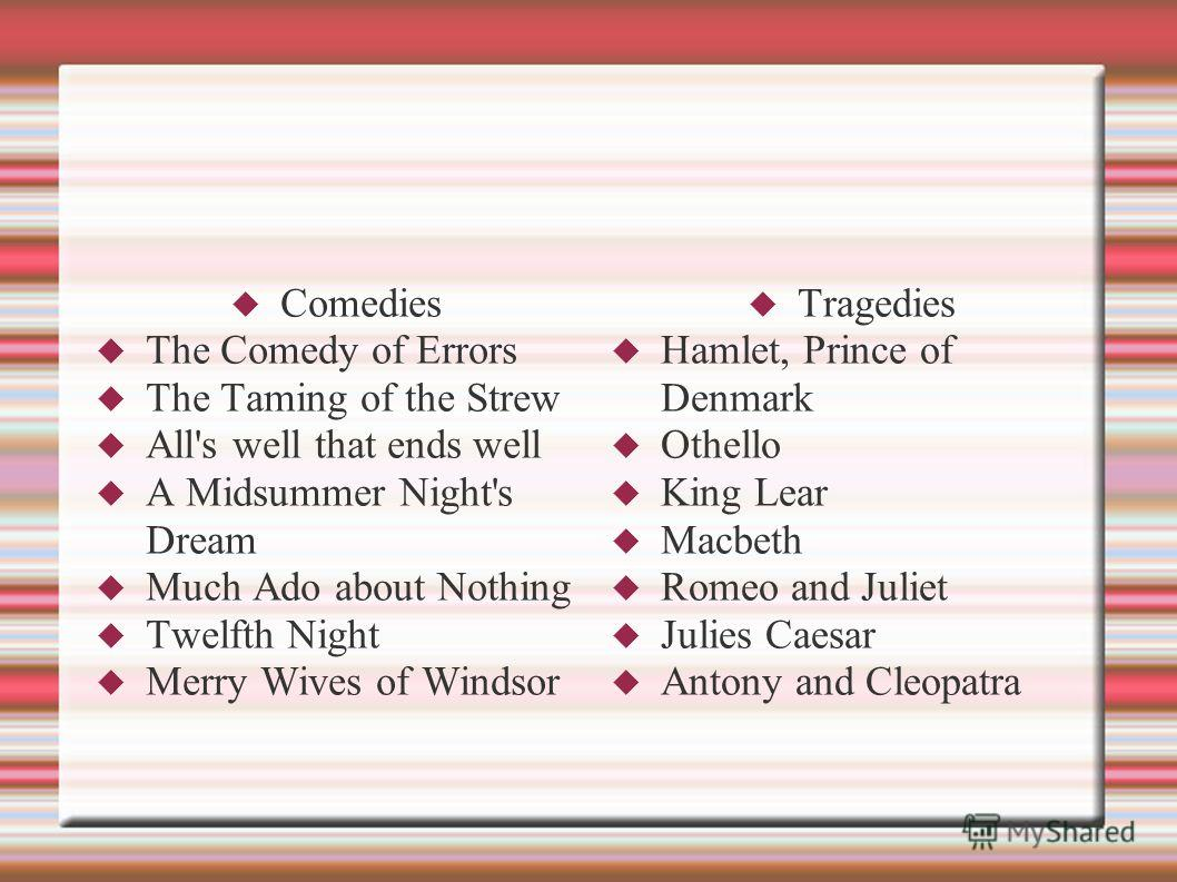 Comedies The Comedy of Errors The Taming of the Strew All's well that ends well A Midsummer Night's Dream Much Ado about Nothing Twelfth Night Merry Wives of Windsor Tragedies Hamlet, Prince of Denmark Othello King Lear Macbeth Romeo and Juliet Julie