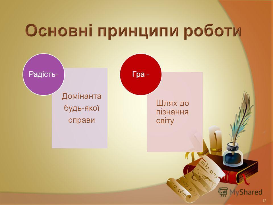 Домінанта будь-якої справи Радість- Шлях до пізнання світу Гра - 12