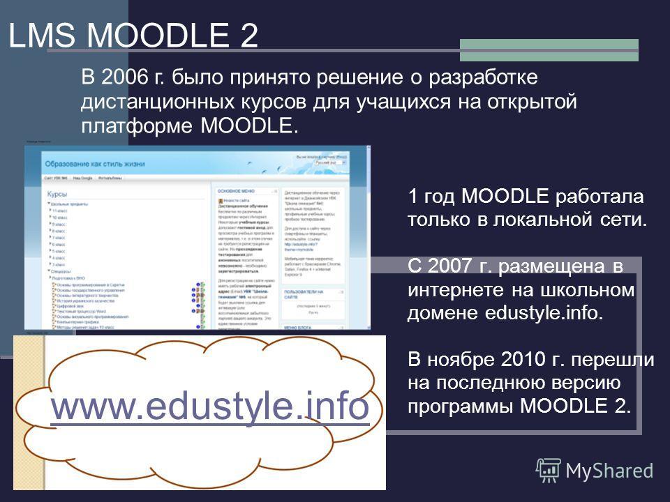 LMS MOODLE 2 1 год MOODLE работала только в локальной сети. С 2007 г. размещена в интернете на школьном домене edustyle.info. В ноябре 2010 г. перешли на последнюю версию программы MOODLE 2. www.edustyle.info В 2006 г. было принято решение о разработ