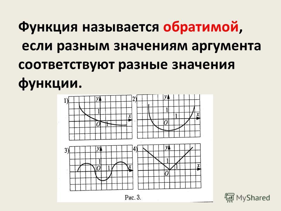 Функция называется обратимой, если разным значениям аргумента соответствуют разные значения функции.