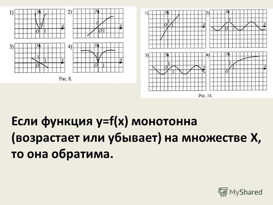 Если функция у=f(x) монотонна (возрастает или убывает) на множестве Х, то она обратима.