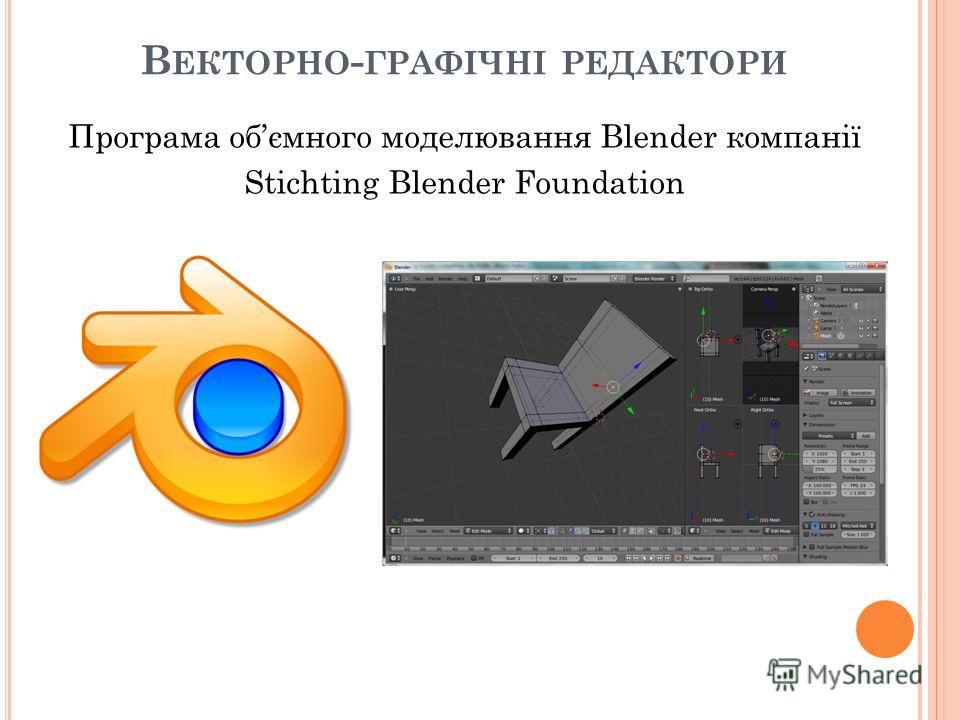 В ЕКТОРНО - ГРАФІЧНІ РЕДАКТОРИ Програма обємного моделювання Blender компанії Stichting Blender Foundation